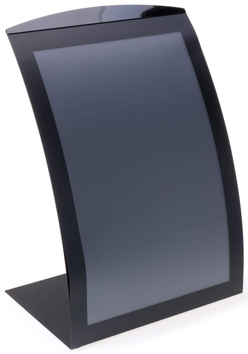 Displays2go aluminio soporte de letrero para 27.9 x 43.2 cm gráficos con encimera de diseño curvo, Sign marco magnético, con lente, aluminio (negro) – Juego de 2 - Amazon