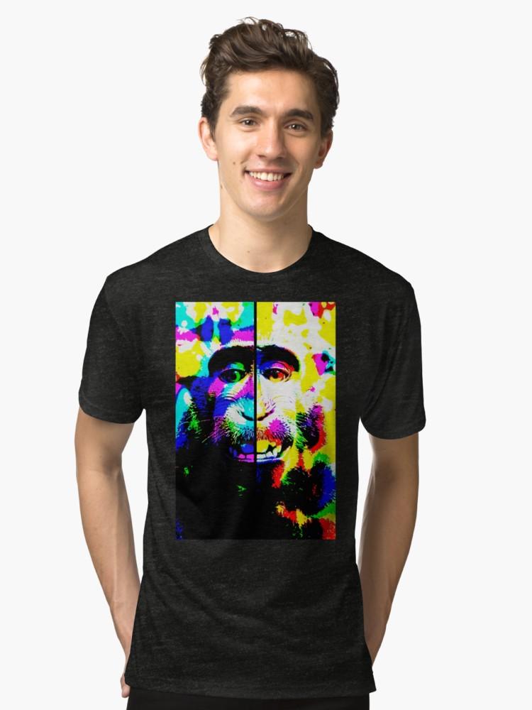 Camisetas de tejido mixto «Mono alucinado» de angeldecuir | Redbubble