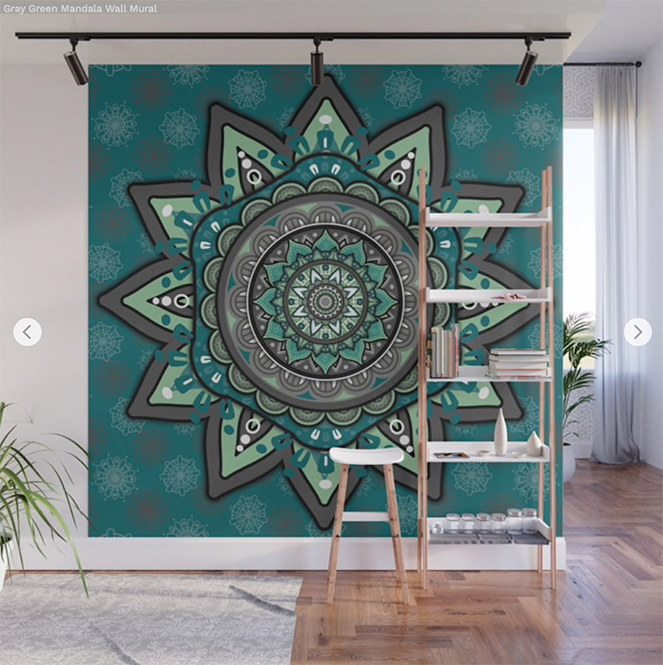 Gray Green Mandala Wall Mural by angeldecuir | Society6