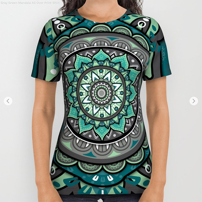 Gray Green Mandala All Over Print Shirt by angeldecuir | Society6