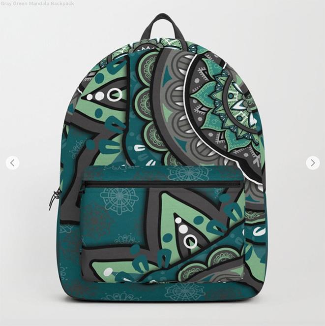 Gray Green Mandala Backpack by angeldecuir | Society6