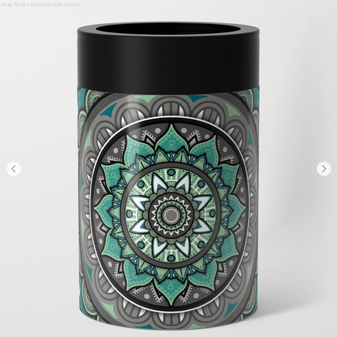 Gray Green Mandala Can Cooler by angeldecuir | Society6