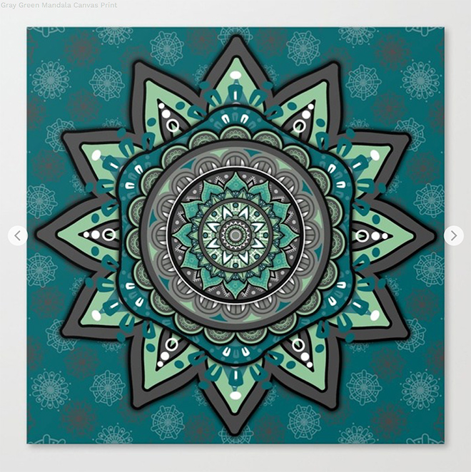 Gray Green Mandala Canvas Print by angeldecuir | Society6