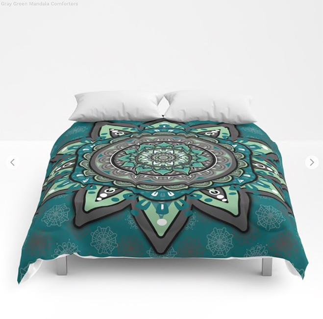 Gray Green Mandala Comforters by angeldecuir | Society6