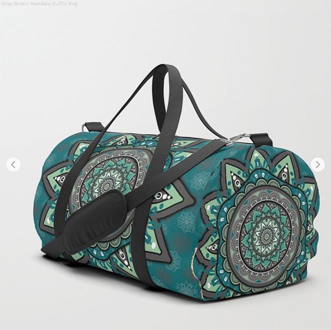 Gray Green Mandala Duffle Bag by angeldecuir | Society6
