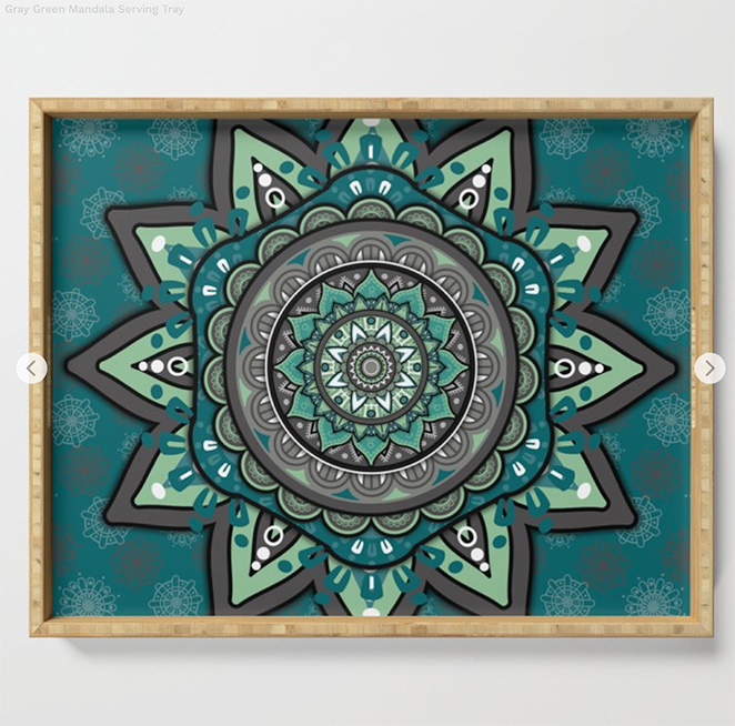 Gray Green Mandala Serving Tray by angeldecuir | Society6