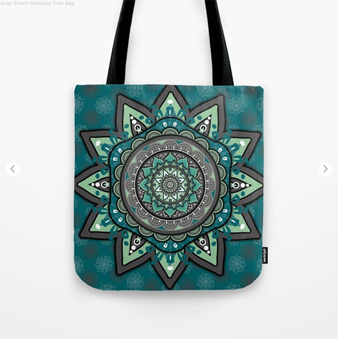 Gray Green Mandala Tote Bag by angeldecuir | Society6
