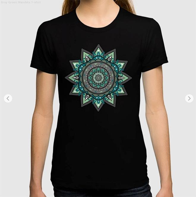 Gray Green Mandala T-shirt by angeldecuir | Society6