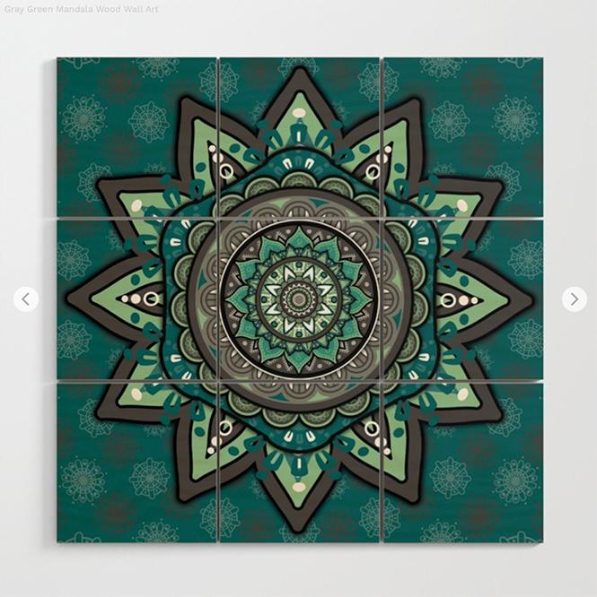 Gray Green Mandala Wood Wall Art by angeldecuir | Society6