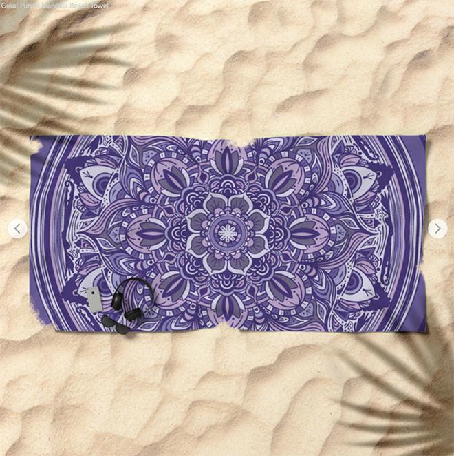 Great Purple Mandala Beach Towel by angeldecuir | Society6