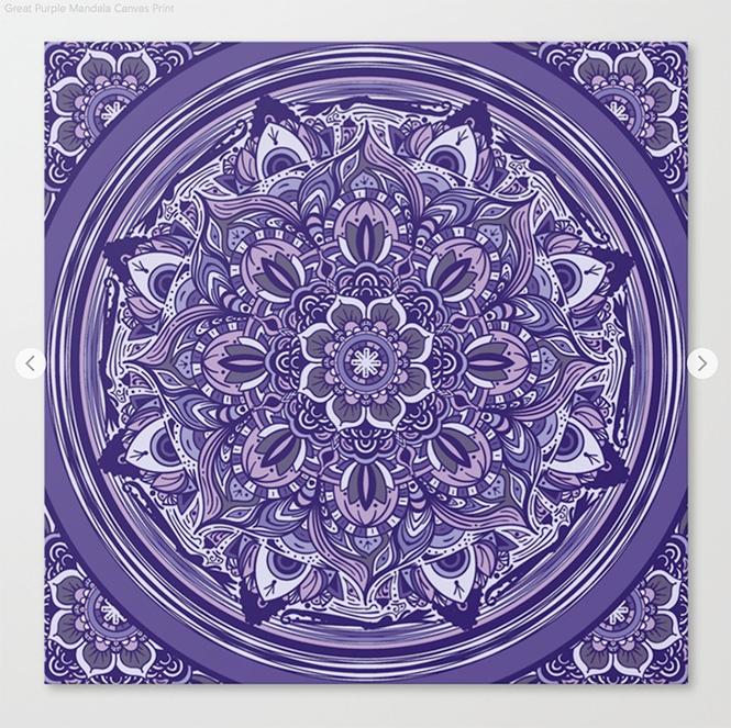 Great Purple Mandala Canvas Print by angeldecuir | Society6