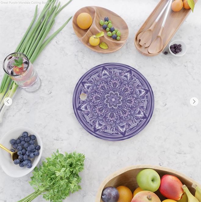 Great Purple Mandala Cutting Board by angeldecuir | Society6
