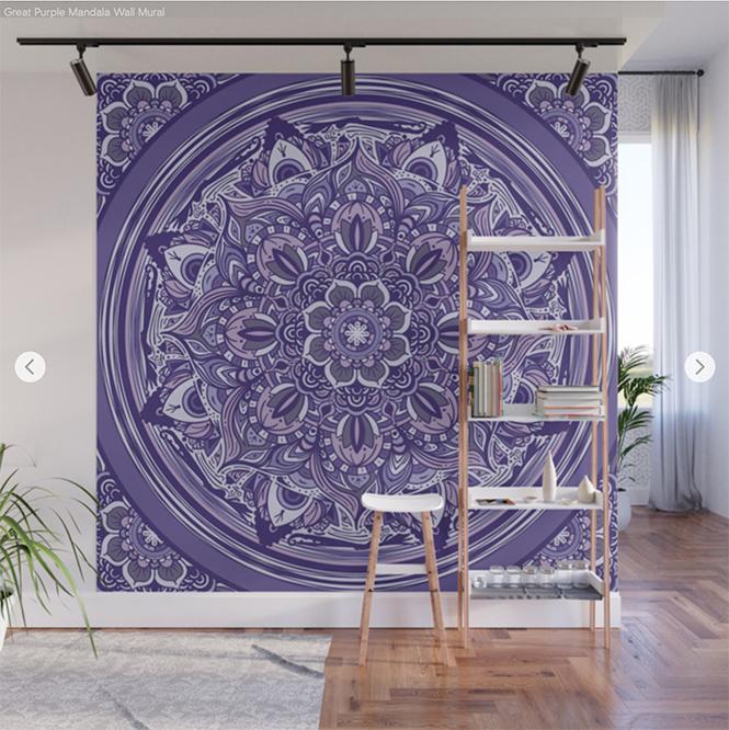 Great Purple Mandala Wall Mural by angeldecuir | Society6