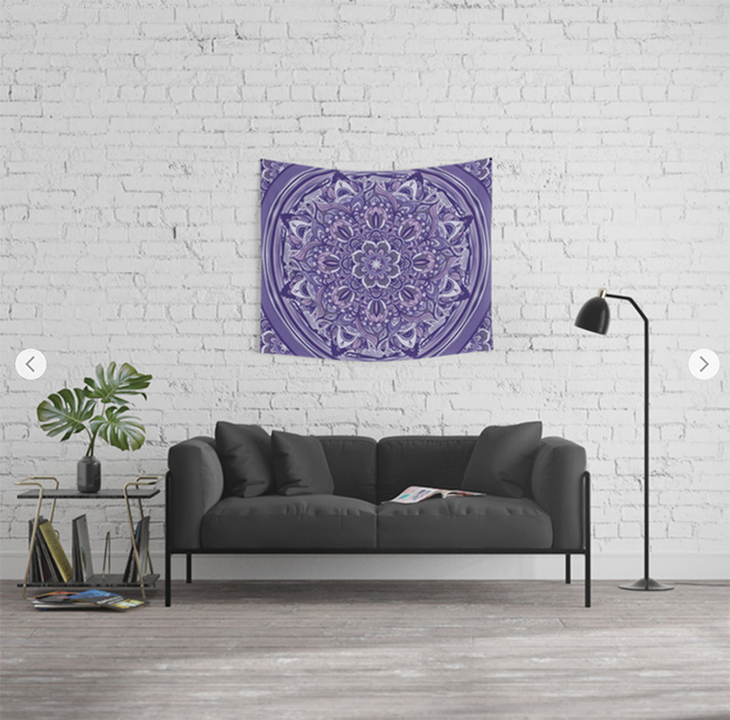 Great Purple Mandala Wall Tapestry by angeldecuir | Society6
