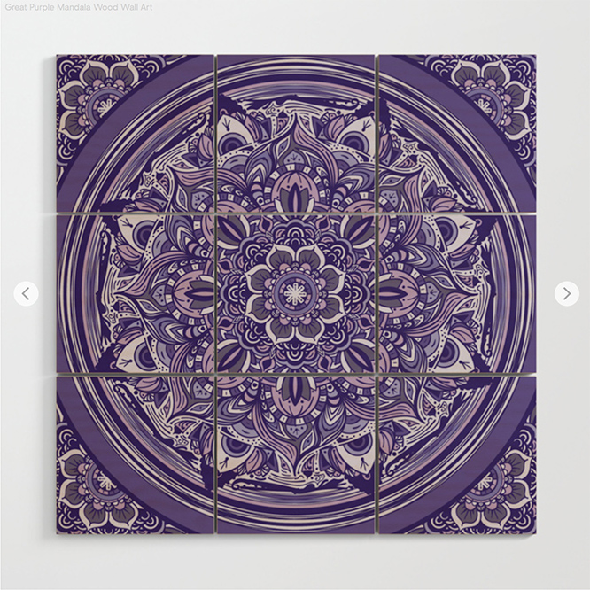 Great Purple Mandala Wood Wall Art by angeldecuir | Society6