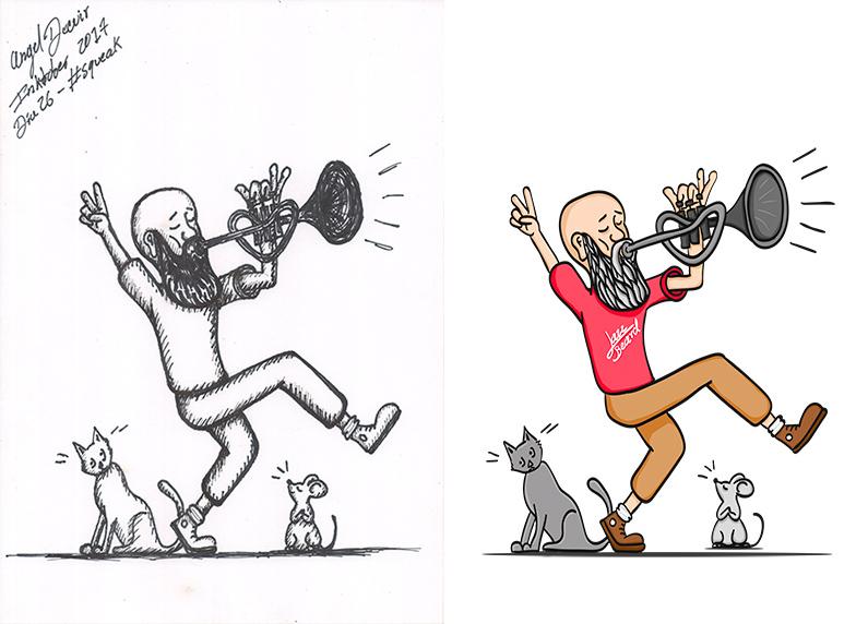 Ilustración del Inktober Jazz Beard para Redbubble