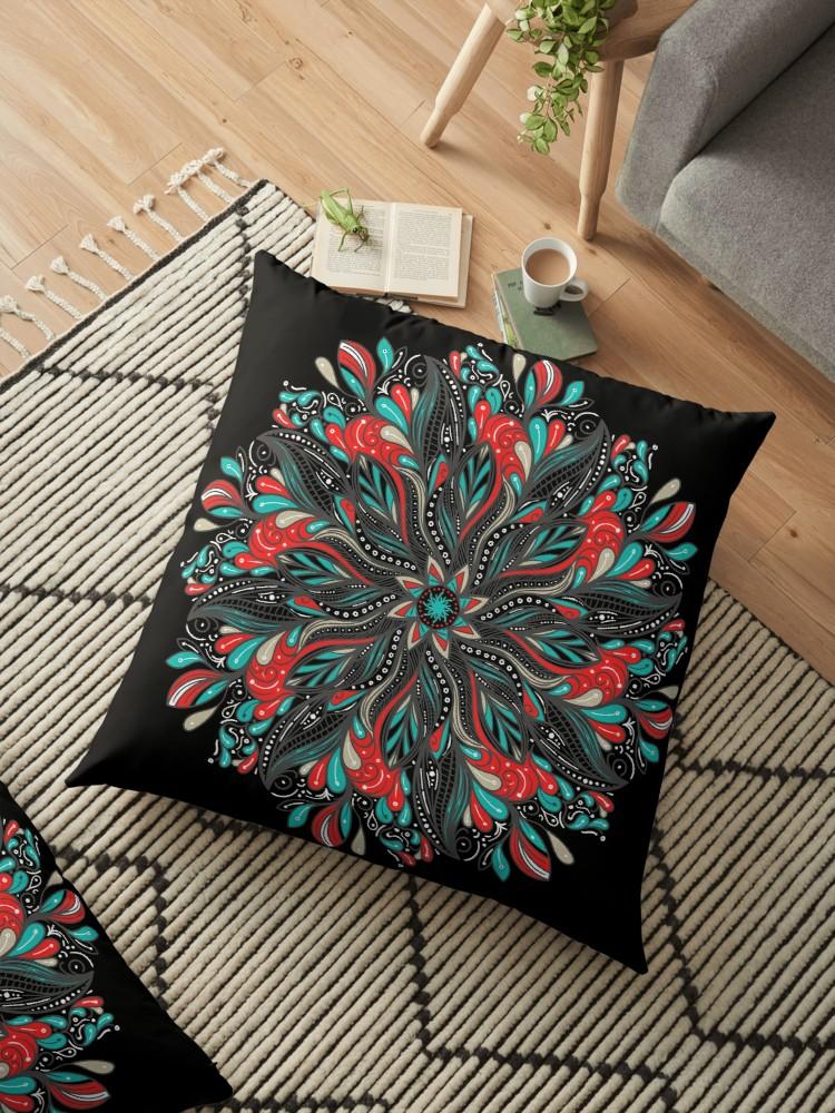 Cojines de suelo «Mandala Flowers» de angeldecuir | Redbubble