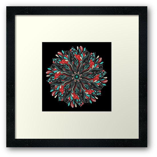 Láminas enmarcadas «Mandala Flowers» de angeldecuir | Redbubble