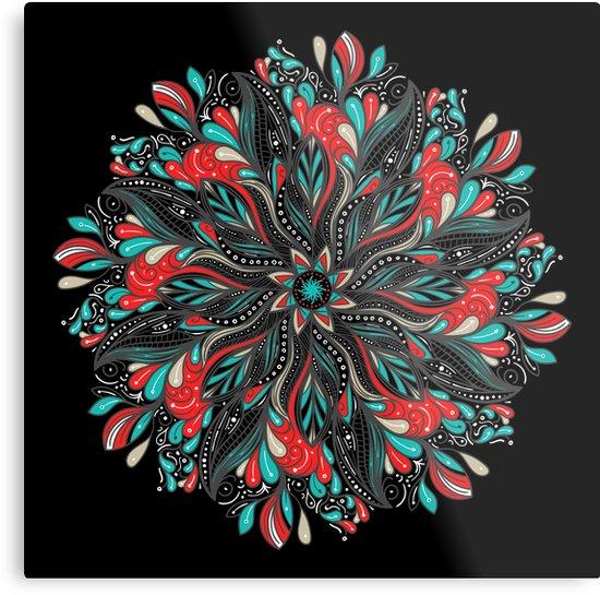 Lienzos metálicos «Mandala Flowers» de angeldecuir | Redbubble