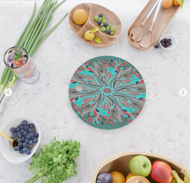 Mandala Flower Cutting Board by Angel Decuir | Society6