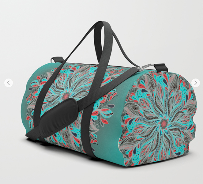 Mandala Flower Duffle Bag by angeldecuir | Society6