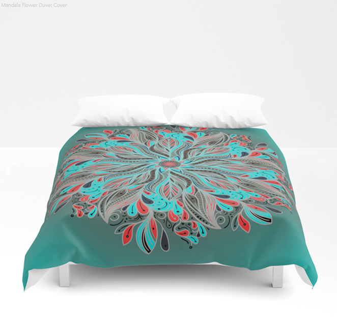 Mandala Flower Duvet Cover by angeldecuir | Society6