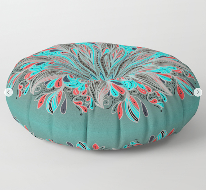 Mandala Flower Floor Pillow by angeldecuir | Society6