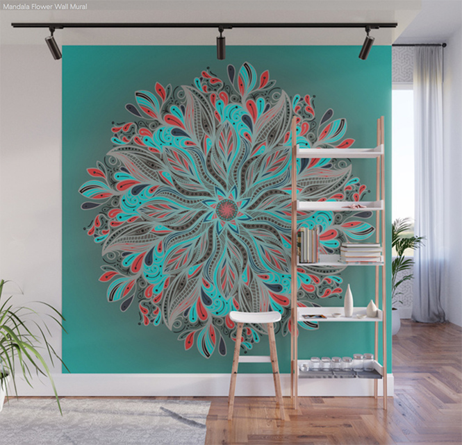 Mandala Flower Wall Mural by angeldecuir | Society6