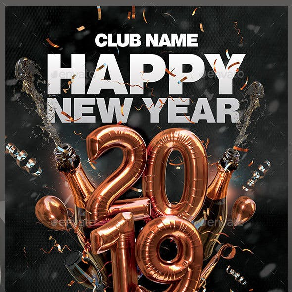 Happy New Year 2019 Flyer by darkmonarch | GraphicRiver