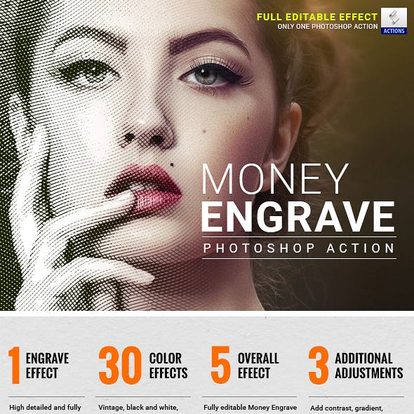 Money Engrave Photoshop Action by GraphicKings | GraphicRiver
