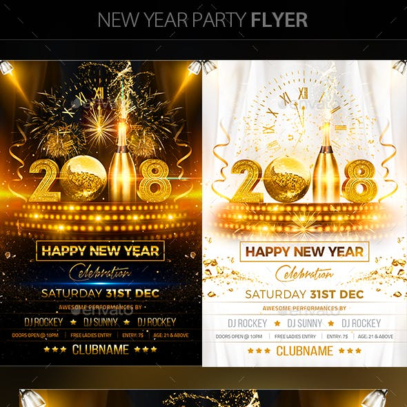 New Year Party Flyer by mantushetty | GraphicRiver