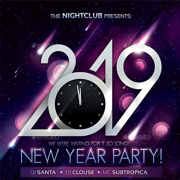 2019 New Year Party Poster by subtropica | GraphicRiver