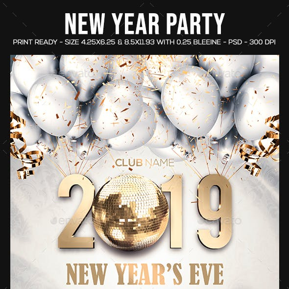 New Year Party Flyer by sparkg | GraphicRiver