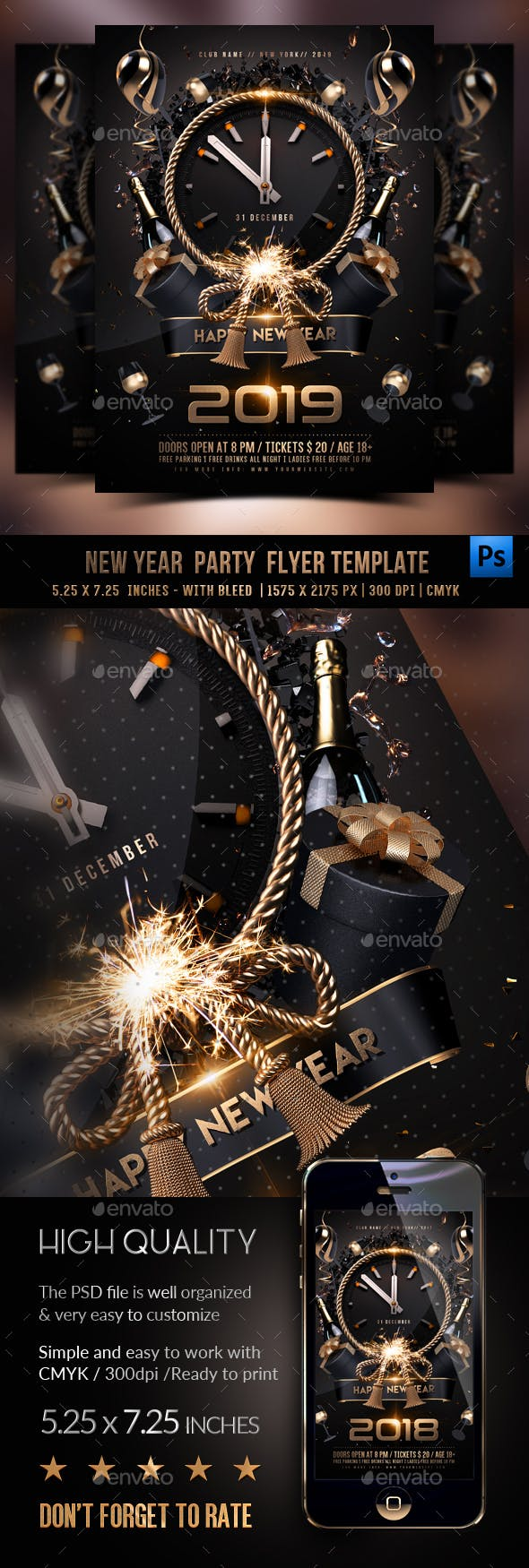New Year Party Flyer by Rembassio | GraphicRiver