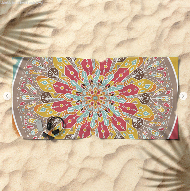 Mandala Boho Style Beach Towel by angeldecuir | Society6