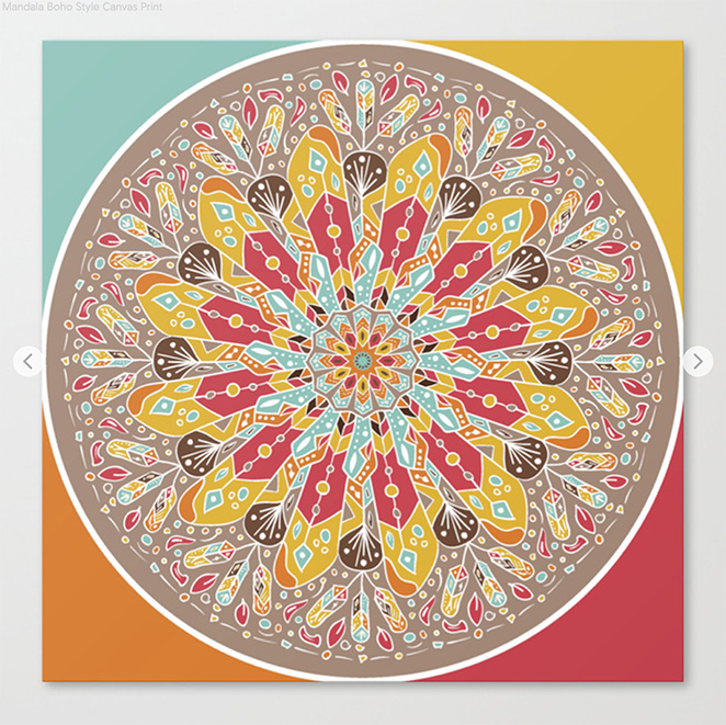 Mandala Boho Style Canvas Print by angeldecuir | Society6