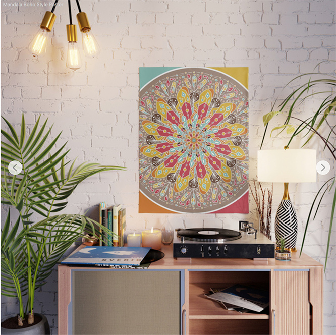 Mandala Boho Style Poster by angeldecuir | Society6