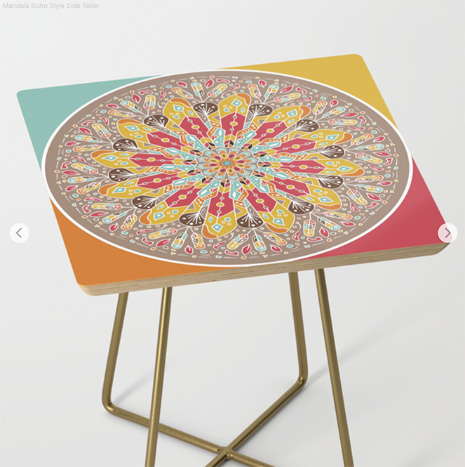Mandala Boho Style Side Table by angeldecuir | Society6