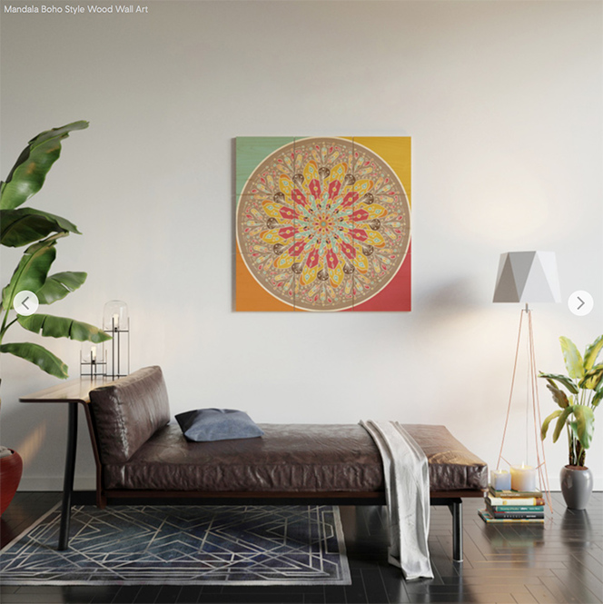 Mandala Boho Style Wood Wall Art by angeldecuir | Society6