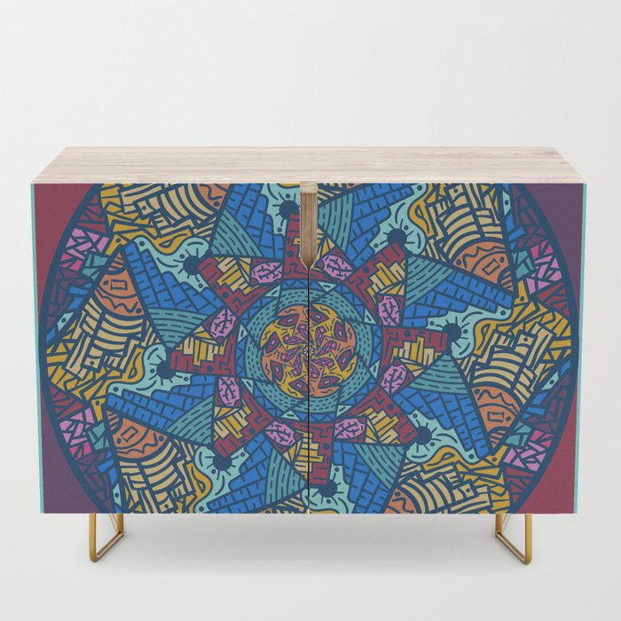 Mountain abstract mandala Credenza by angeldecuir | Society6 - Un mandala diferente