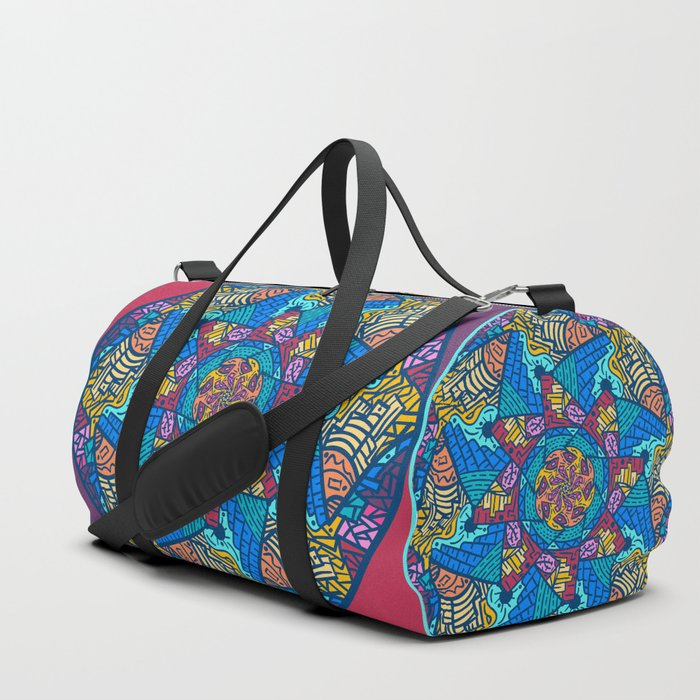 Mountain abstract mandala Duffle Bag by angeldecuir | Society6