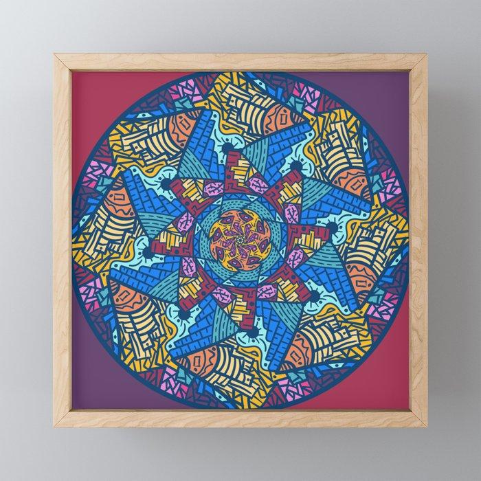 Mountain abstract mandala Framed Mini Art Print by angeldecuir | Society6
