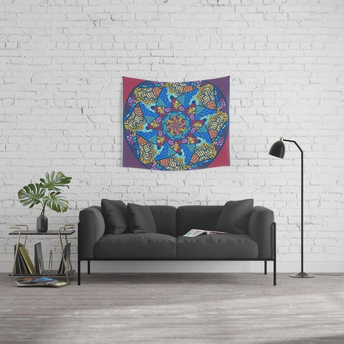Mountain abstract mandala Wall Tapestry by angeldecuir | Society6