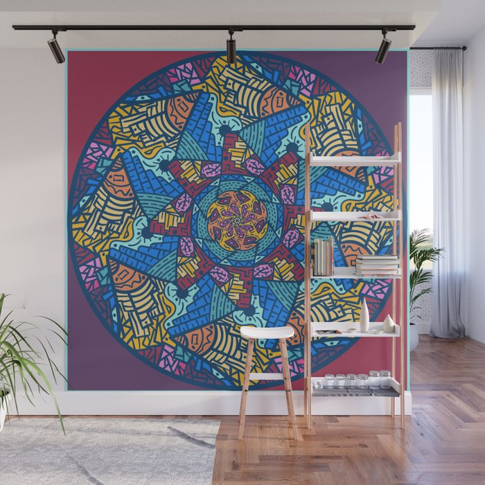 Mountain abstract mandala Wall Mural by angeldecuir | Society6