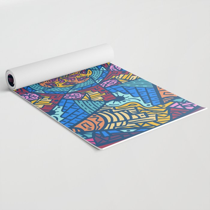 Mountain abstract mandala Yoga Mat by angeldecuir | Society6