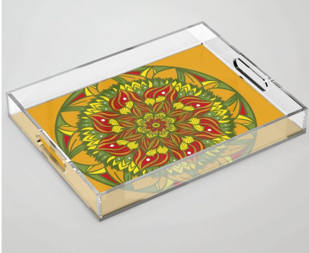 Summer mandala 4 Acrylic Tray by angeldecuir | Society6