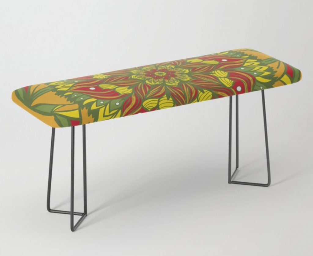 Summer mandala 4 Bench by angeldecuir | Society6