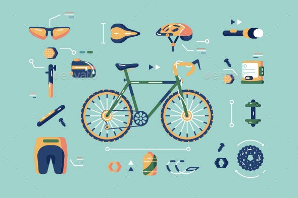 Bicycle Equipment for Cycling Set por kit8 / GraphicRiver