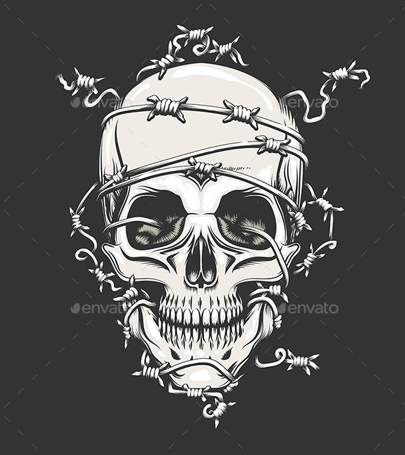 Human Skull in Barbed Wire por Olena1983 / GraphicRiver