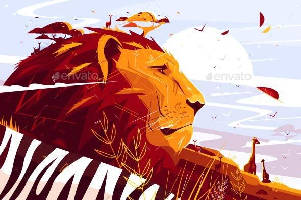 Majestic Lion on Safari por kit8 / GraphicRiver
